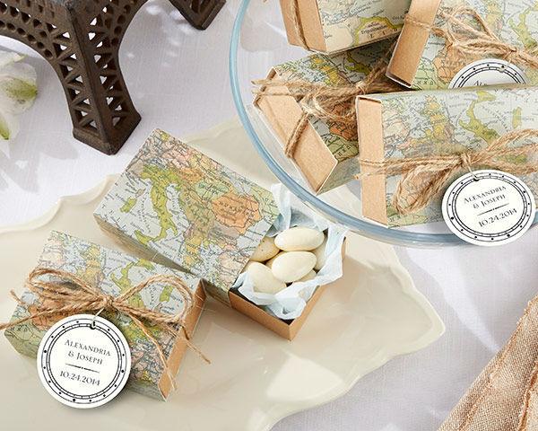 Cajas para dulces temática Destination Wedding