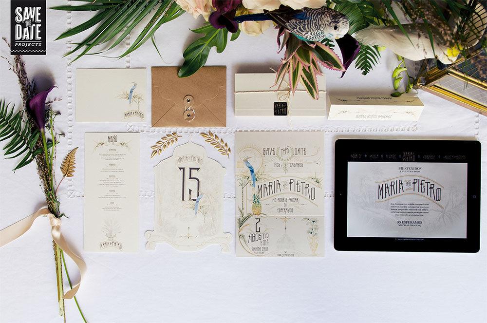 Papelería de boda personalizada estilo vintage y con dibujos en acuarela. Del save the date a la web de boda, todo con el mismo estilo y temática.