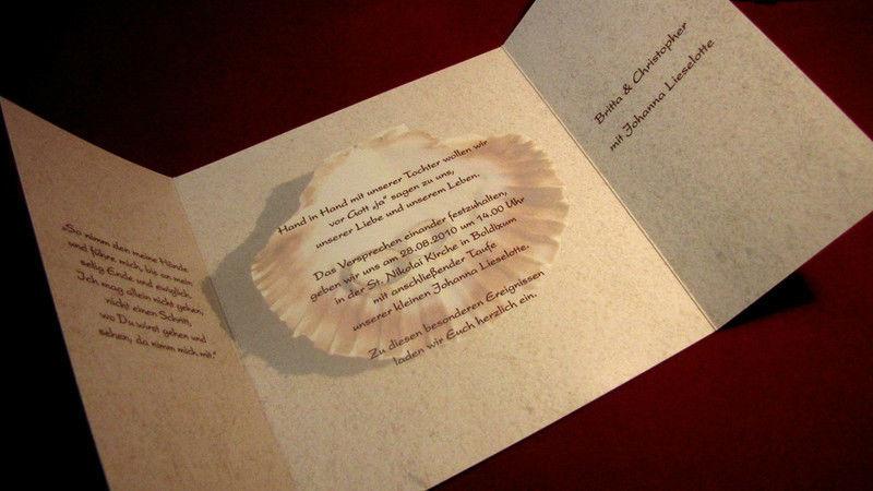 Beispiel: Einladungen-Menükarten-Tischkarten, Foto: Die Drucker Hochzeitskarten.