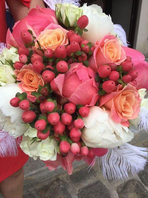 bouquet de mariée corail et saumon