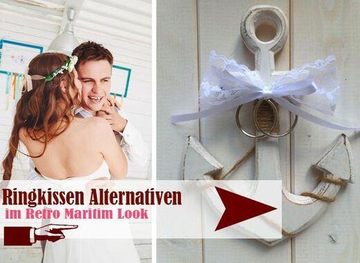 handgefertigte Ringkissen Alternativen, z.B. Shabby Chic Anker aus Holz - LoveLi Hochzeitsplanung Onlineshop
