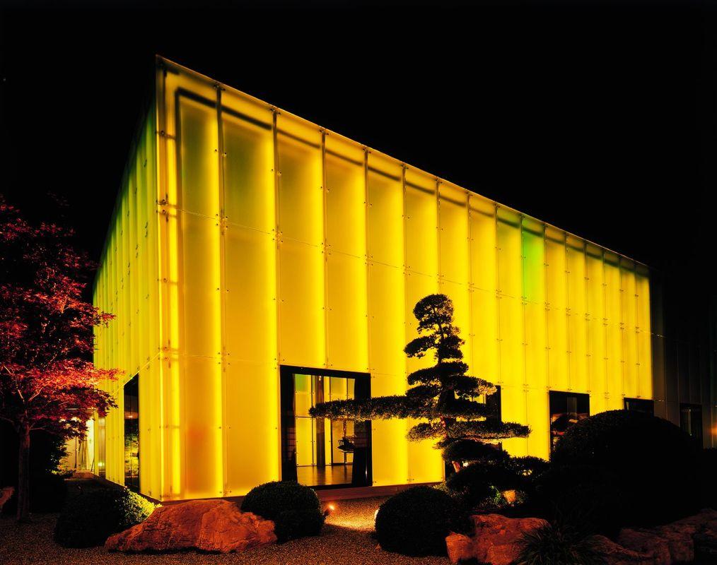 Aquarius Hall gelb beleuchtet, Foto: Park Weggis.