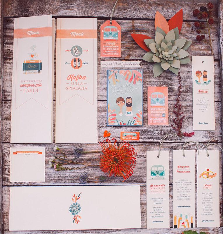 Stationery: la passione per la lettura, illustrazioni personalizzate - foto di Infraordinario Wedding
