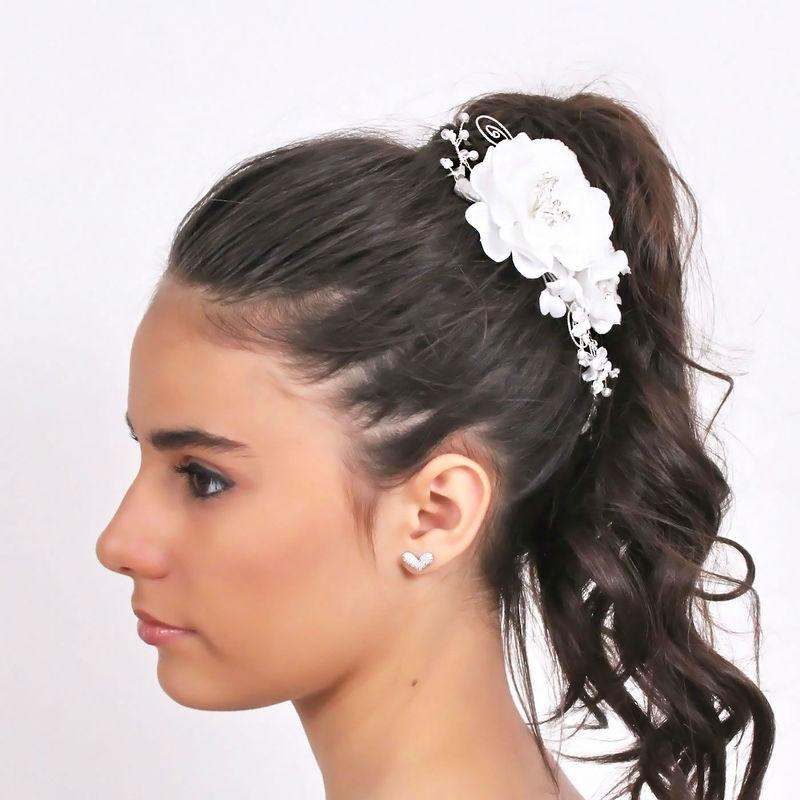 Arya Italian Jewels - Accessori Acconciatura matrimonio - Pettinino con fiori perle e strass Swarovski