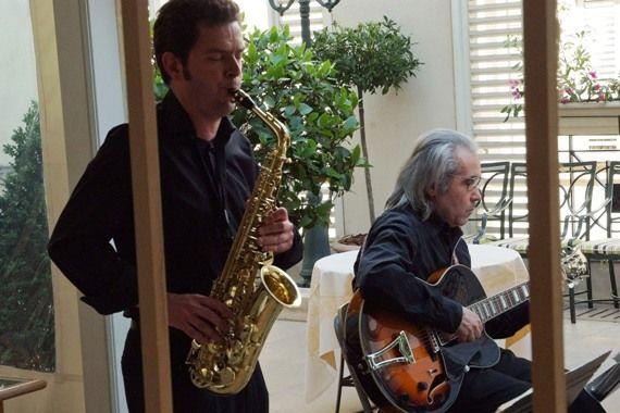 Duo jazz, saxophone et guitare cocktail