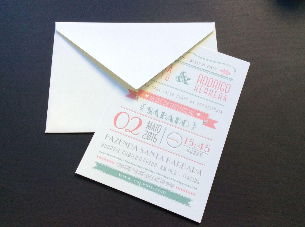 convite moderno | Letter press