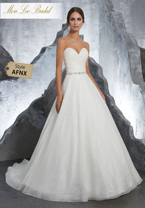 Style AFNX Kiki Wedding Dress  Princess Ballgown Featuring Frosted Beading on Chantilly Lace. Detachable Beaded Net Included, and Also Sold Separately as Style NXOLV. Colors Available: White, Ivory