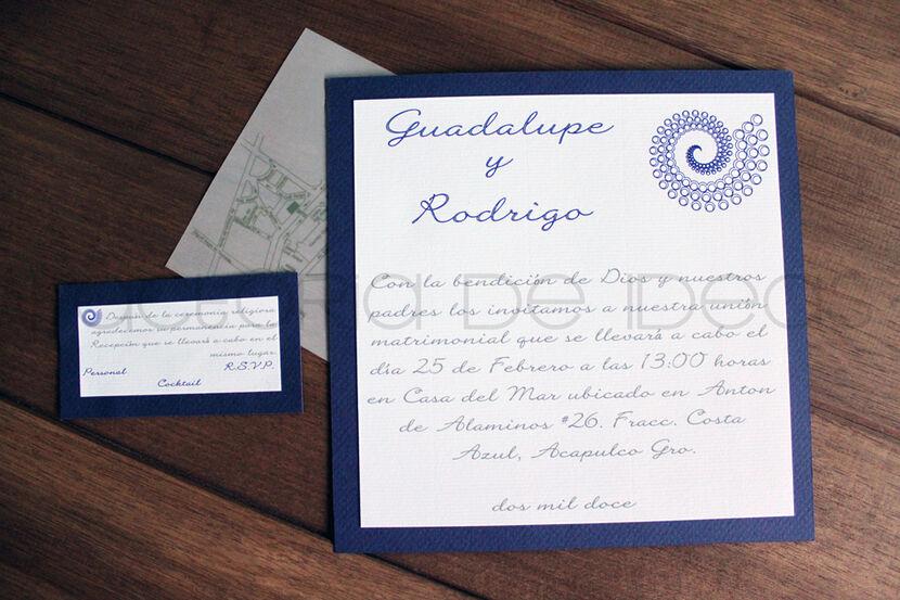 Invitación para boda en Acapulco pero con toque formal y elegante