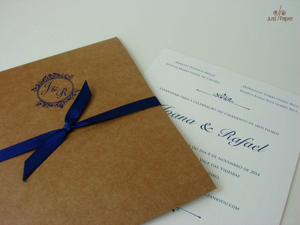 Convite com envelope em papel kraft