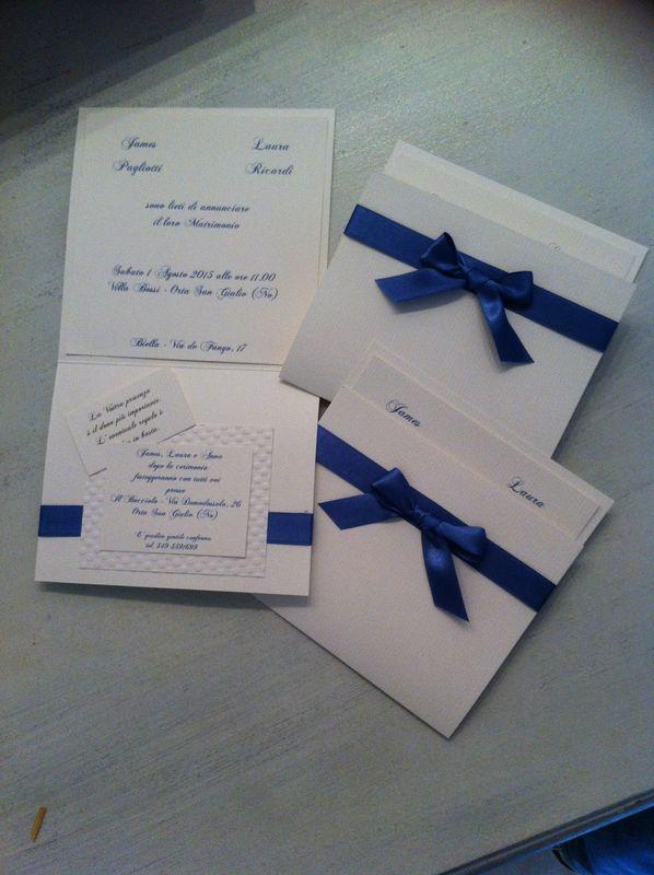 Partecipazione invito color blu cina