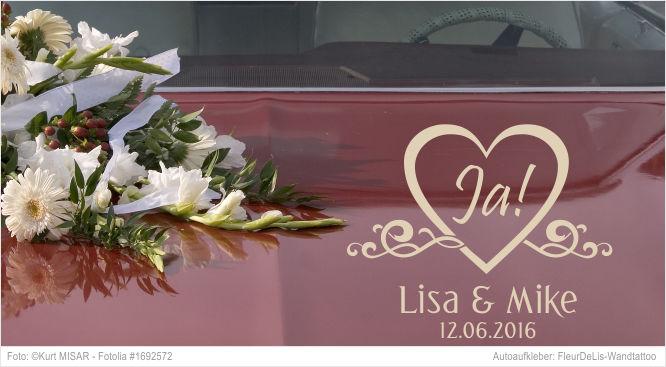 Autoaufkleber -  Ja mit Namen und Datum