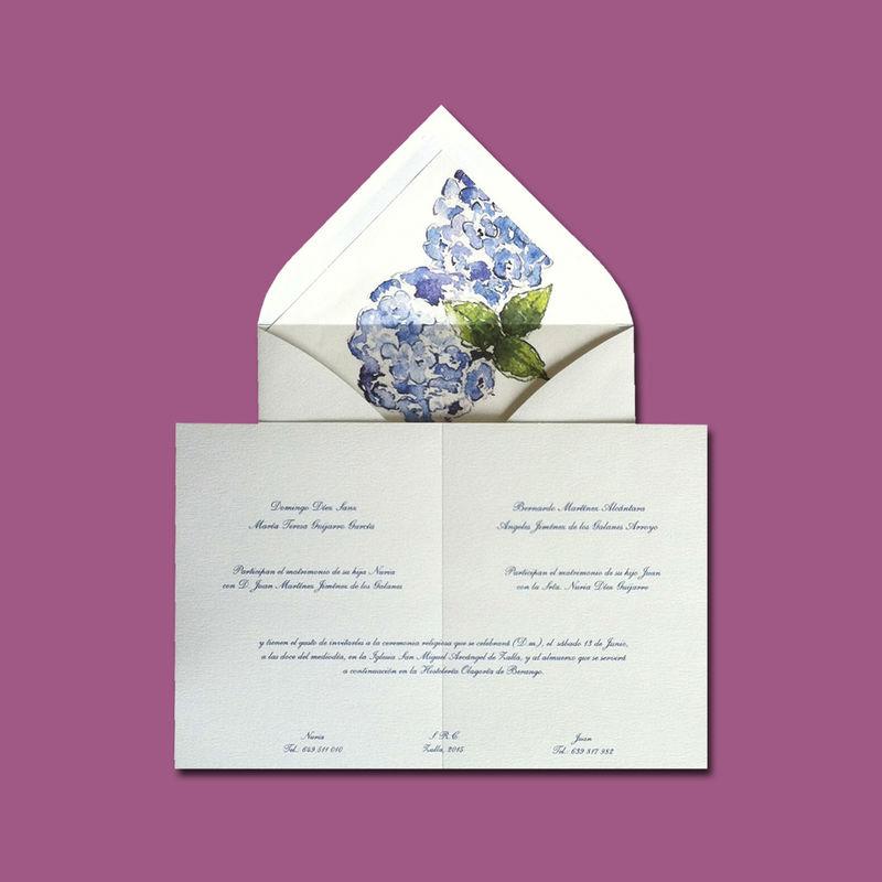 DIMASS Invitación clásica, con Hortensias azules.