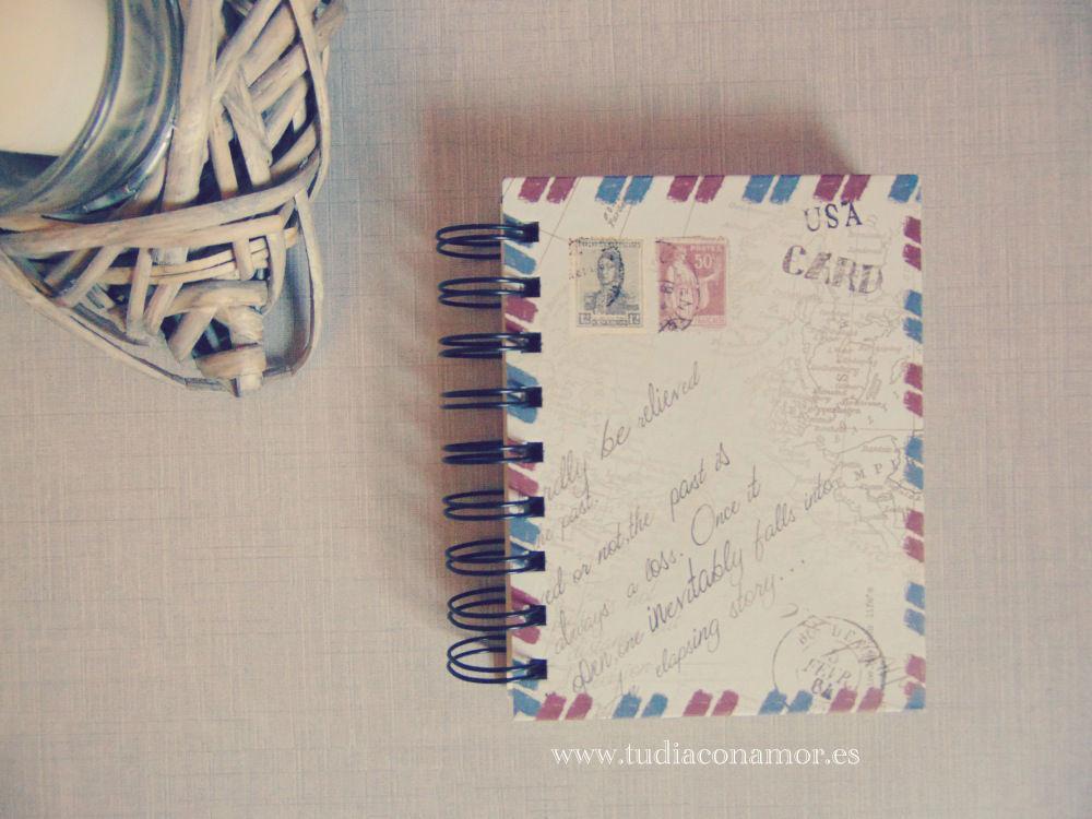 Libreta de notas de estilo antiguo, ideal para una boda vintage o para los novios más viajeros