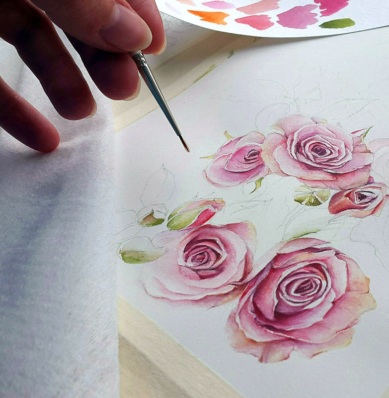Процесс создания акварельной иллюстрации для свадебного агентства. Июньская свадьба будет в пастельных тонах с оформлением кустовыми розами и птицами. Планируется атмосфера замка в цветущем саду.