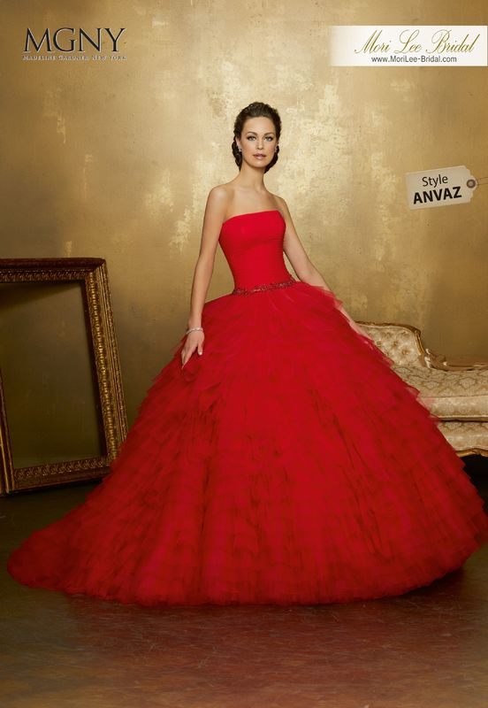 Style ANVAZ Odiane  Ruffled tulle ball gown with diamanté and pearl encrusted waistband on a draped bodice