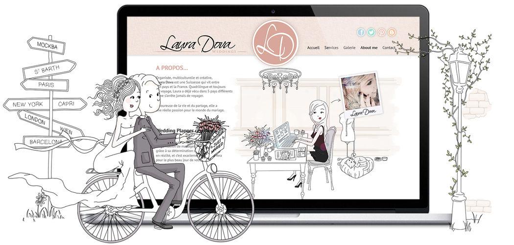 Illustration mariage - Création de site web wedding planner - Marina Gri