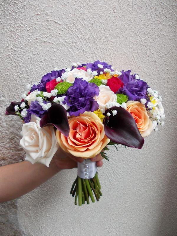 Bouquet de mariée tiges apparentes