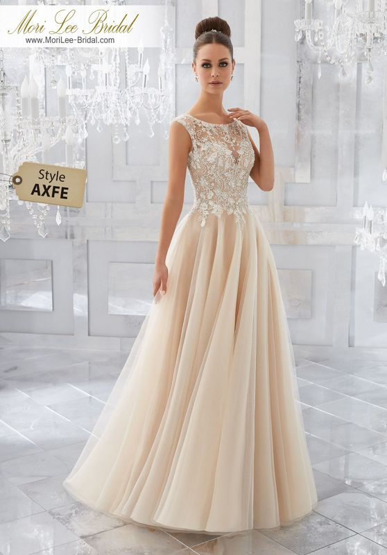 Style AXFE Mirella Wedding Dress  Feminine and Dreamy, This Soft Tulle Bridal Ballgown Features an Intricate Bodice with Crystal Beaded Embroidery and Beautiful Keyhole Back. Colors Available: White, Ivory, Ivory/Light Gold.