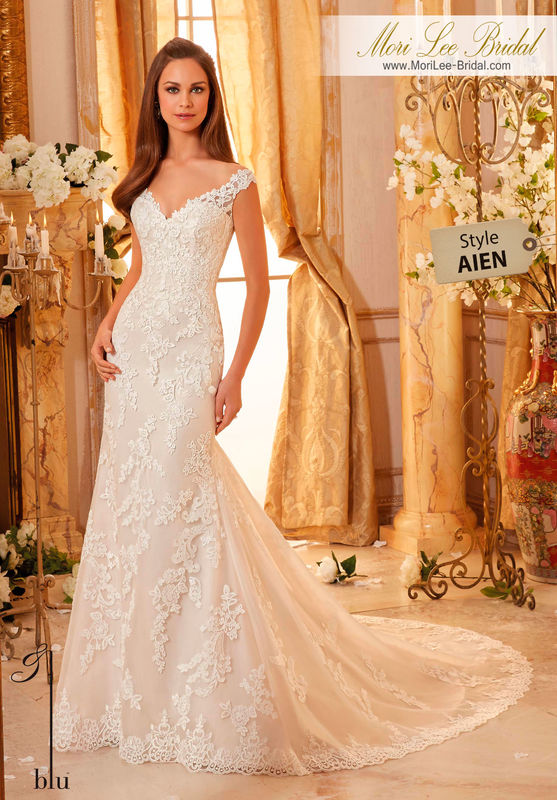 Dress Style AIEN  CLASSIC EMBROIDERED LACE ON SOFT TULLE WITH SCALLOPED HEMLINE  Available in Three Lengths: 55