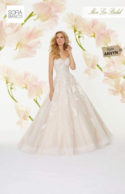 Style ANVYN Solange  Diamanté and crystal beaded, embroidered appliqués on a horsehair edged tulle ball gown