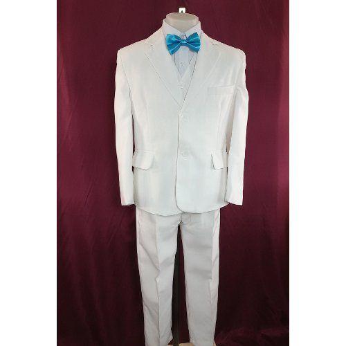 Costume de cérémonie blanc garçon, veste, pantalon, chemise, gilet, cravate, mariage, communion du 2 ans au 16 ans