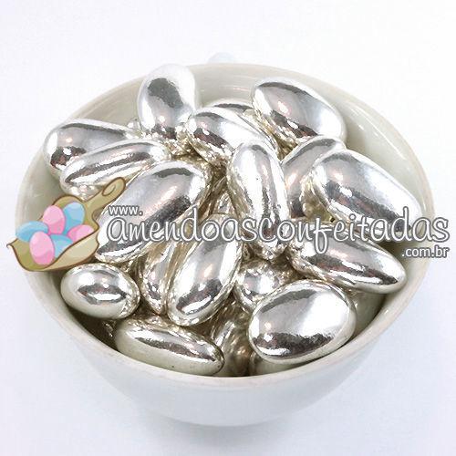 Amêndoas Confeitadas Prata Deluxe - Muito utilizadas em Bodas de Prata.